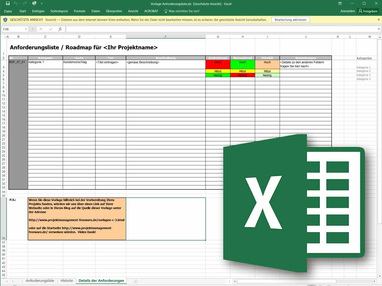 Anforderungsliste Im Projektmanagement Als Excel Vorlage Projektmanagement Freeware