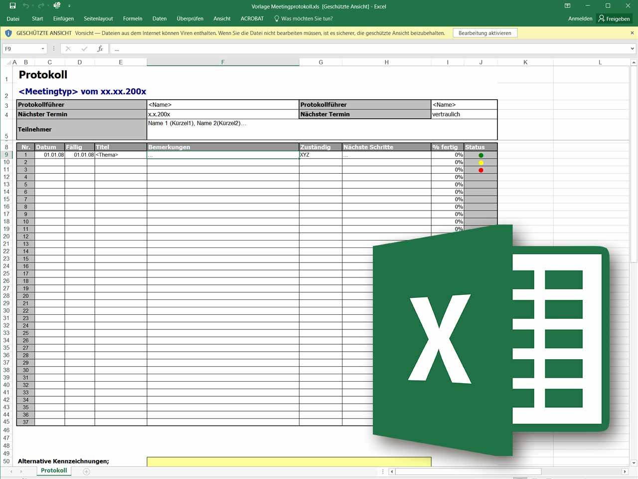 Besprechungsprotokoll als Excel Vorlage – Projektmanagement Freeware