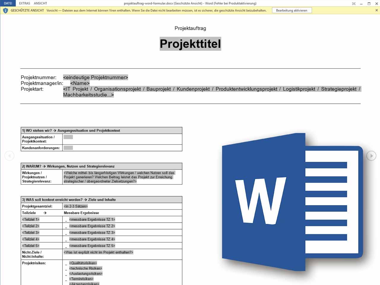 Projektauftrag Word Formular Projektmanagement Freeware