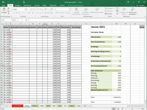 Arbeitszeiterfassung Vorlage 2021